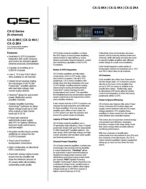 CX-Q 4-Channel Specification Sheet