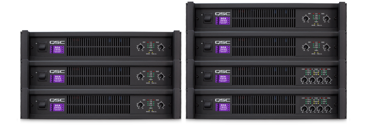 qsc  seven models of 2 channel and 4 channel amplifiers featuring our convenient dataport interface connection