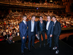 Brenton Thwaites, Javier Bardem, Johnny Depp, Geoffrey Rush, and Orlando Bloom in the Grand Theatre at Shanghai Disney